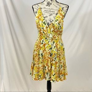 Kimchi Blue Yellow Floral Dress Lace Up Back